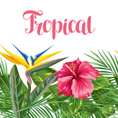 Seamless border with tropical leaves and flowers. Palms branches, bird of paradise flower, hibiscus