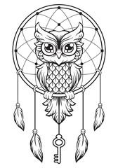 Dreamcatcher of owl. Mandala draw.