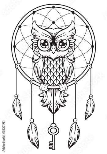 Dreamcatcher of owl  Mandala draw