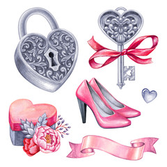 watercolor illustration, Valentine's day clip art, bridal party, wedding accessories, fashion shoes, lock, silver key, heart gift box