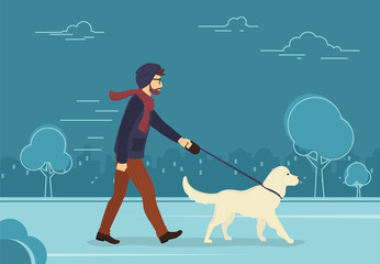 Young man walking outdoors with his dog in the evening. Flat concept illustration of people with pets on the street in blue color