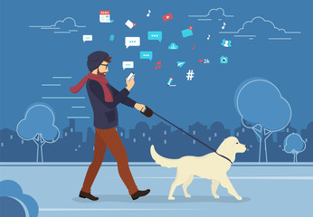 Man walking outdoors with dog in the evening and using smartphone to read news and messages in social networks. Flat concept illustration of people addiction to networks and spending time in internet
