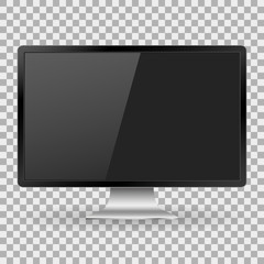 Monitor PC realistic with a blank screen on background isolate, stylish vector illustration EPS10