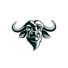 Vintage Buffalo illustration on white background.