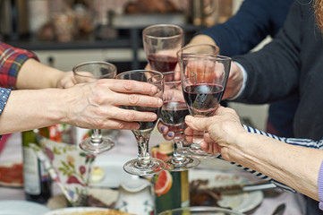 Family clinking glasses at festive table