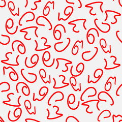Seamless vector pattern, red squiggles