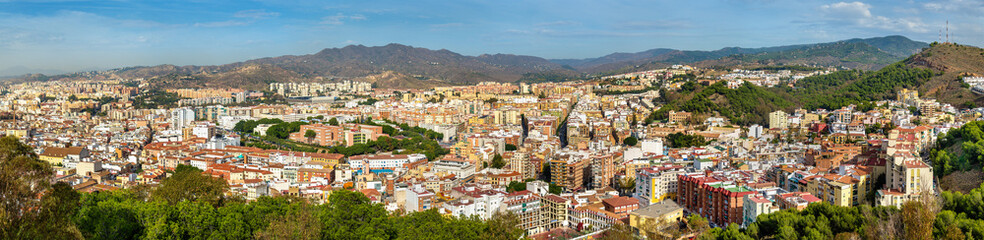 Panoramic view of Malaga from Gibralfaro Castle, Spain