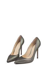 Metallic female high heel shoes on white background