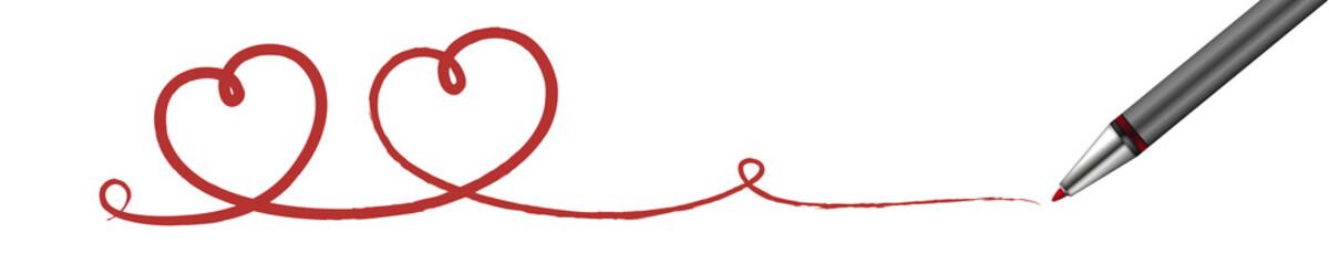 Stift zeichnet rote Herzen