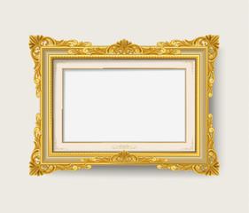 Vintage gold wood photo frame on white background