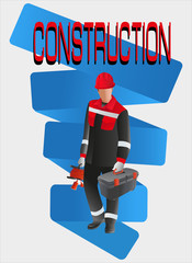 Builder worker with tools.Vector image. Poster design, leaflets with the building professions for advertising, announcements, instructions, or presentation.