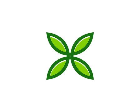Initial Letter X Leaf Logo Design Element