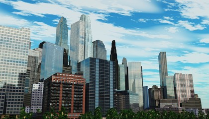 Panorama of a modern city. Skyscrapers and sky.