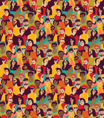 Big crowd happy people color seamless pattern.