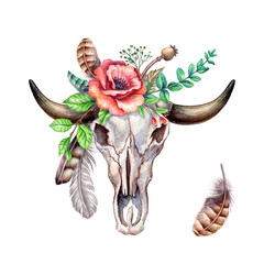 watercolor boho illustration, tribal, cow head skull, floral bouquet, rustic flowers