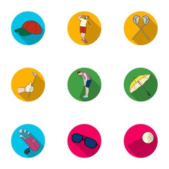 Golf club set icons in flat style. Big collection of golf club vector symbol stock illustration