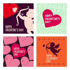 Valentine cards. Hand drawn design elements.