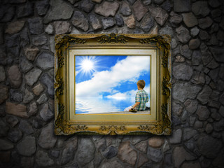 Antique Picture Frame on Stone Wall - Boy Sunrise