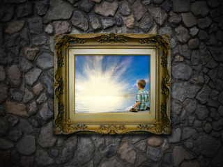 Antique Picture Frame on Stone Wall - Boy Alone