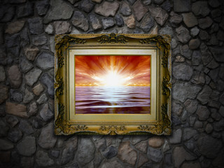 Antique Picture Frame on Stone Wall - Fire Sunset