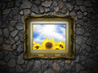 Antique Picture Frame on Stone Wall - Sunflowers