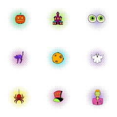 All hallows evening icons set, pop-art style