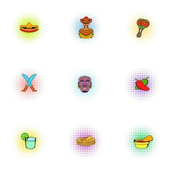 Stay in Mexico icons set, pop-art style
