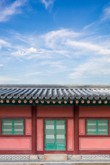 - Korean house, green wooden Window, decoration red brick wall f