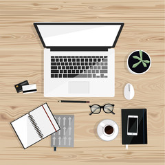 Office desktop with isolated laptop, notebooks, coffee, glasses, credit card. Top view. Wood background. Vector flat illustration. Freelance.
