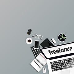 Freelance objects. Background of equipment. Laptop, notebook, cup of coffee, mobile phone, glasses, credit cards, pencil isolated on gray. Space for text. Flat vector illustration