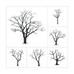 Dry Trees Die Silhouette Set