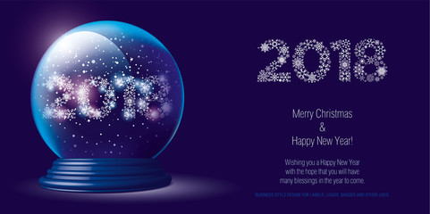 Christmas snow globe with falling snow and 2018 inside. Editable vector illustration.