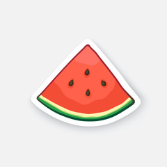 Vector illustration. Watermelon small slice. Organic food. Healthy vegetarian food. Cartoon sticker in comic style with contour. Decoration for greeting cards, patches, prints for clothes, emblems