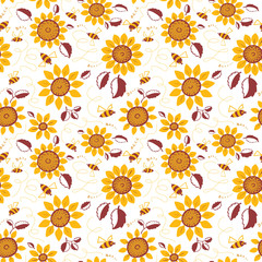 Decorative sunflowers with bees seamless pattern