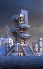 3D Illustration of futuristic city architecture with ovoid glass structures, for fantasy or science fiction backgrounds