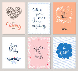 Valentine's greeting cards with typographic design, ornate heart shape, birds, decorative frames and floral wreath. Vector illustration.
