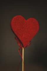 Beautiful felt red heart love and scenery. Love is in the air on Valentine's Day