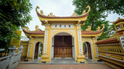Hanoi, Vietnam - December 04, 2015: Tran Quoc pagoda in Hanoi, Vietnam. This pagoda is located on a small island near the southeastern shore of West Lake. This is the oldest Buddhist temple in Hanoi.