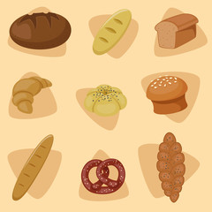 Vector set of bread icons