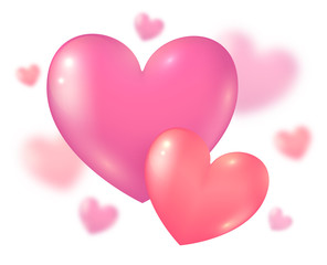 Valentines Day pink couple hearts on blurred background