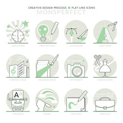 Infographic Icons Elements about Creative Design Process. Flat Thin Line Icons Set Pictogram for Website and Mobile Application Graphics.