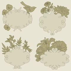 Floral blank vintage frames