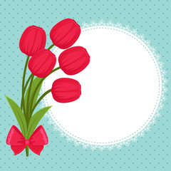 Floral festive greeting card with tulips