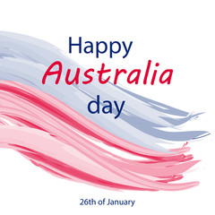 Happy Australia day card on an isolated background