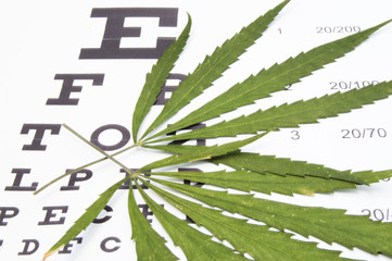 Marijuana treatment of ophthalmic diseases such as glaucoma. Two green leaf of marijuana or cannabis are on table for testing visual acuity (chart). Concept for use marijuana in cure of eye diseases