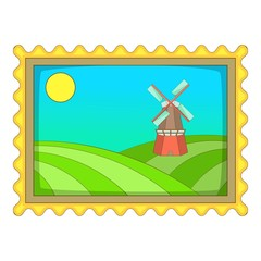 Picture with windmill icon, cartoon style