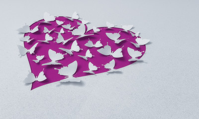 paper butterflies with heart , happy valentine's day - 3D romantic card / background ( love , butterfly , wedding )