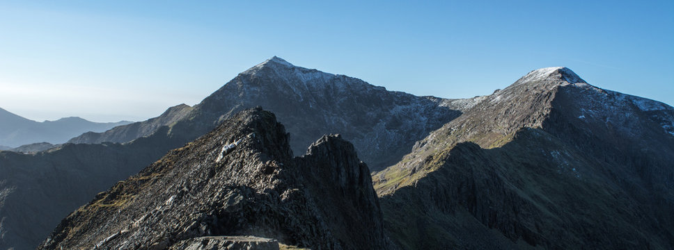 A view all the way along Crib Goch and the summit of Snowdon in north wales.