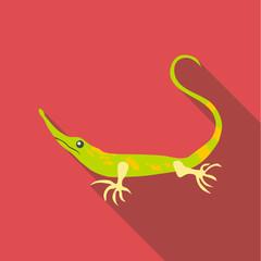 Little green lizard icon, flat style
