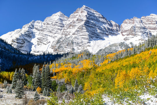 Snow-coated Maroon Bells - Autumn morning view of Maroon Bells (Maroon Peak - 14,156 ft & North Maroon Peak - 14,014 ft) after a overnight snowstorm at end of September. Aspen, Colorado, USA.